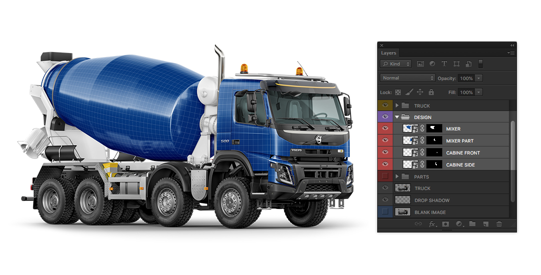 Download Psd Object Mockups Tutorial How To Edit Concrete Mixer Truck Mockup On Yellow Images PSD Mockup Templates